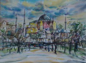 NERKİZ AKÇURA / Hayalimdeki Istanbul, Ayasofya (Istanbul in My Dreams, Hagia Sophia  (Size F12)